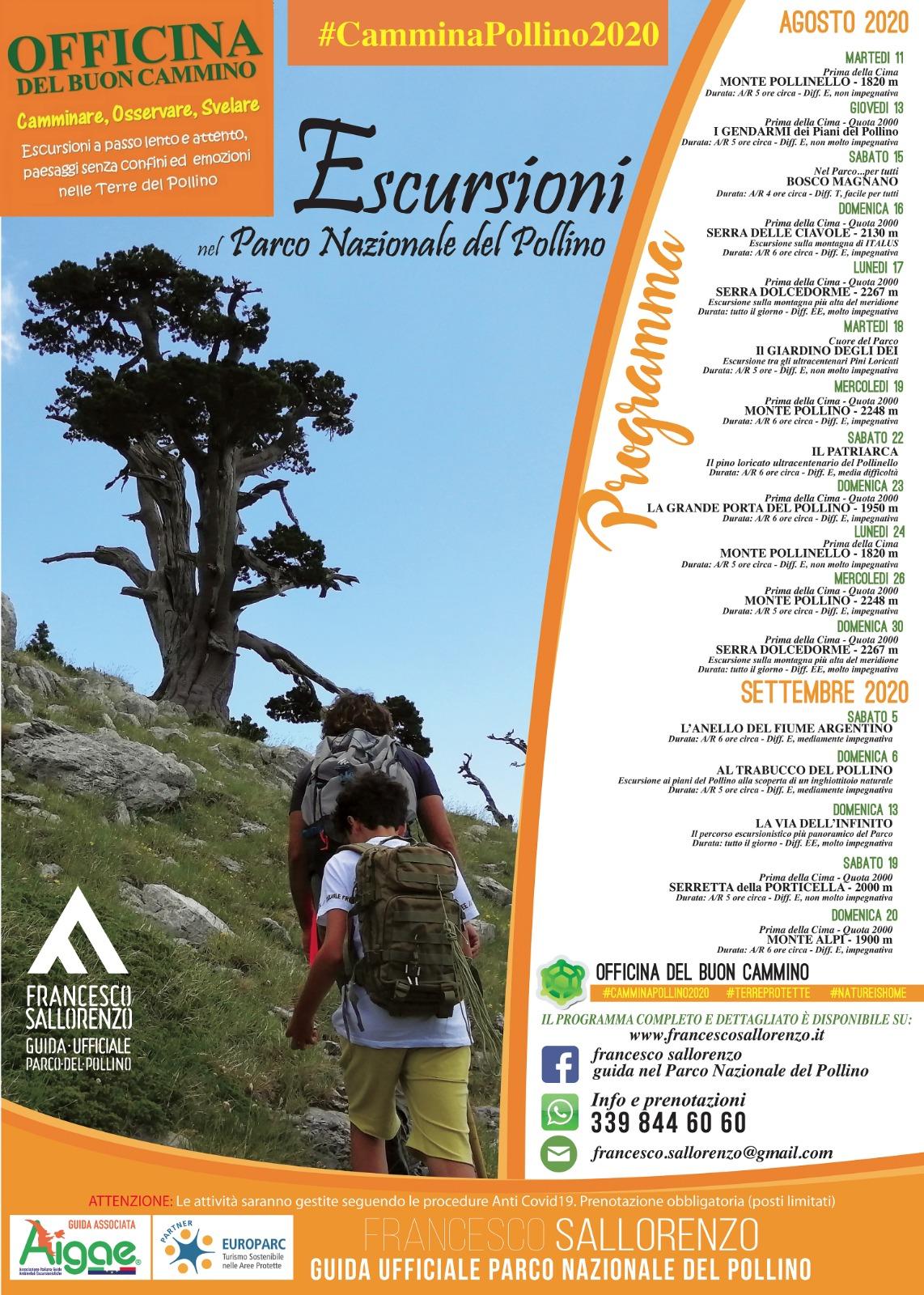 Calendario escursioni #CamminaPollino2020 Agosto – Settembre